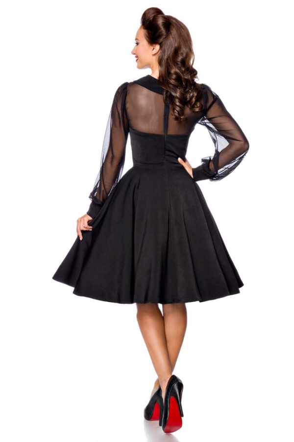 Vestido Vintage con Mangas Tul-Negro