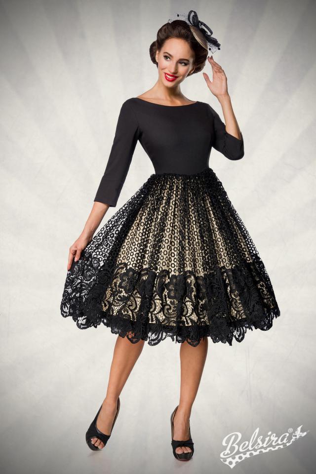 Vestido  Vintage con Falda Bordada-Negro