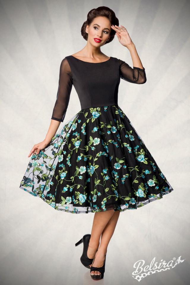 Vestido Belsira Vintage Flores Turquesas