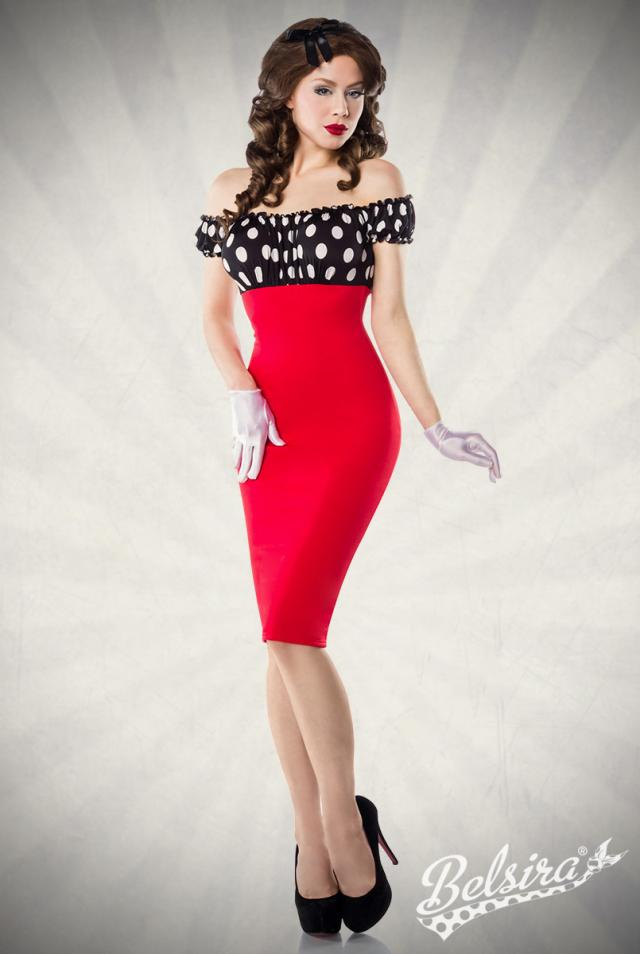 VESTIDO LAPIZ ROCKABILLY  LUNARES/RED